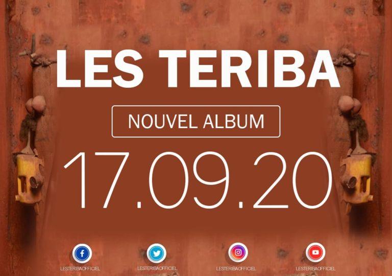 Visuel fond couleur brique annonçant la sortie du prochain album musical du Groupe Teriba le 17 septembre prochain et indiquant leurs différents réseaux sociaux.